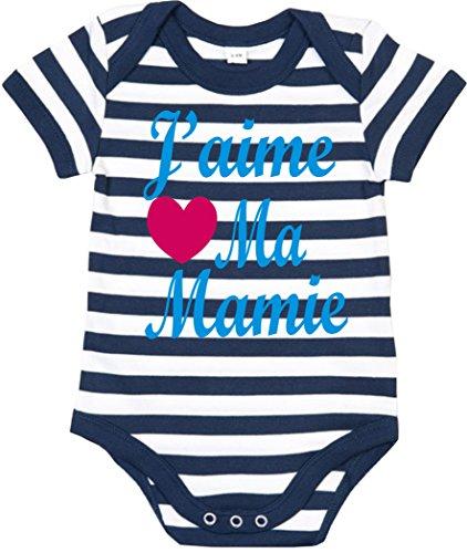 J'aime MA Mamie' 68-80 rayé Bleu Ciel bébé Bodysuit