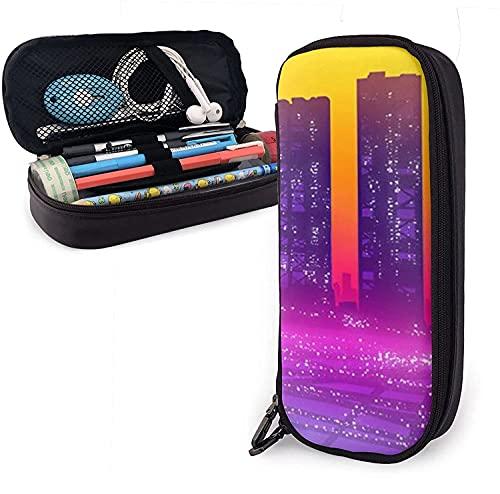 Estuche para lápices, Abstract-Skyline-Cityscape de gran capacidad para bolígrafos, bolsa de papelería, organizador de escritorio con cremallera para suministros escolares y de oficina