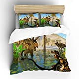 Aluy s boutique 3D Dilong Dinosaurs and Coahuilaceratops Dinosaur Soft Bedding Duvet Cover Set, Twin Size 2 Pieces with 1 Duvet Cover and 1 Pillowcase, Best Gift for Kids, Boys, Girls
