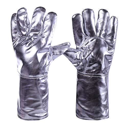 DNSJB Aluminium Foil Brandwerende Handschoenen, Flexibele Volledige Vinger Warmte Isolatie Handschoenen, Brandwerende veiligheidshandschoenen Voor Koeienhuid Productie/Houtkachel/Metaal Snijden