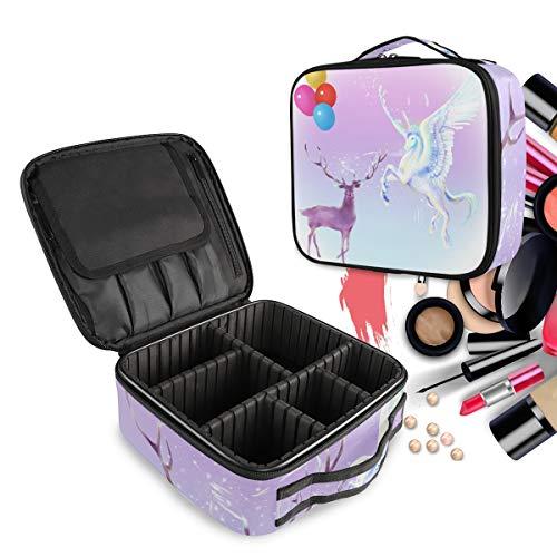 Caballo Blanco Alce Púrpura Bolsa de Maquillaje Organizador de Cosméticos Portátil Estuche Mochila con Divisor Ajustable para Mujeres Niñas