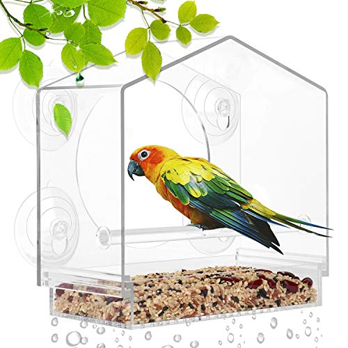 YUT Window Bird Feeders for Outside, 4 Strong Suction Cups and Removable Tray, Weatherproof Acrylic Outdoor Bird House with Drain Holes, Transparent Viewing Outside Hanging Birdhouse Kits