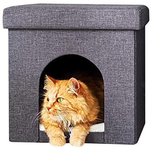 ne&no® Kuschelhocker für Katzen und kleine Hunde oder Welpen | sehr stabil | faltbar | Katzenbett | Katzenhöhle | Katzenhaus | Katzenkorb mit weichem Kissen| Sitz Hocker mit Polsterung