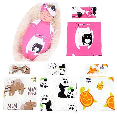 MarJunSep 4 Pack Baby Girl Swaddle Blankets Headbands Sets, for Newborn Girls, Baby Girl Swaddle Wrap Receiving Blanket
