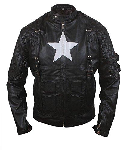 Feather Skin 2015 Escudo Estrella Nuevo Capitán De Edad Chaqueta De Cuero Genuina De Los Hombres