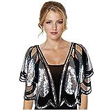 Keland - Camisa de mujer con lentejuelas brillantes para noche, chal de noche, camisa, bufanda, fiesta de boda Negro A-negro y plateado. Taille unique
