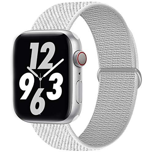 Qunbor Cinturino Compatibile con Apple Watch 38mm 40mm 42mm 44mm per iWatch Series 6 5 4 SE 3 2 1 Edition, Sport Nylon Intrecciato Loop Tessuto Ricambio Flessibile Bagliore di notte, RiflettenteBianca