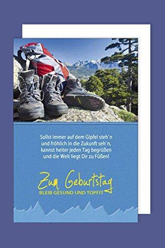 Wandern Geburtstag Karte Grußkarte Stiefel Berge Natur 16x11cm