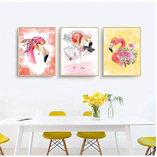 XKLDP Acuarela Flamingo Poster Imprime guardería Animal Pared Arte Lienzo Pinturas Imagen niñas dormitorio-40x60cmx3 Piezas sin Marco