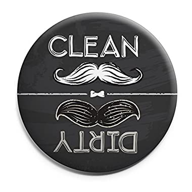 Clean Dirty Dishwasher Magnet Ends Kitchen Problem. Retro moustache chalkboard theme. Grey.