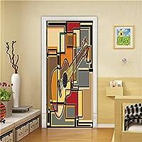 3Dドア壁壁画壁紙 家の装飾Pvcドアステッカーリビングルーム寝室のドアステッカー粘着紙