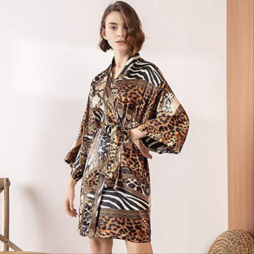XFLOWR Dames Nachtjapon Zijde Satijn Robe Vrouwen Luipaard Print Slaapmode Comfort Losse Zachte Jurk Femme Huiskleding Voor Lente en Herfst