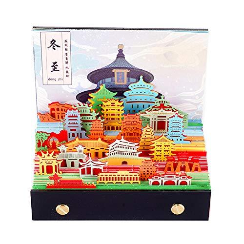 Calendario Semana Chinos Año Nuevo 2021 Calendario 2021 Pequeno para el Año Lunar del Buey,12x7.5x12cm,Escultura de Papel 3D Patrón Arquitectónico Chino Calendrio 2021 para Horarios Familiares Y Cump