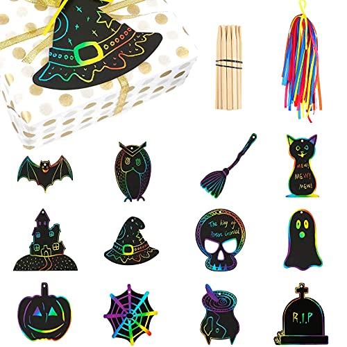 Oneroomone 12 piezas Scratch Paper Manualidades, Tarjetas de Papel para Rascar Arcoíris con 48 Cintas de Colores y 12 Bamboo Pen, para Decoración de Halloween, Regalos de Fiesta de Halloween