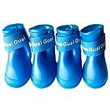 4 Piezas Zapatos Perro Botas, Botas de Silicona Impermeables para Perros, Antideslizante Protectores Perro Cómodos Zapatos Suave, Zapatos para Perros con Protección de Silicona (5 cm × 4 cm, Azul)