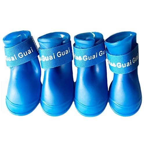 Fayemoon 4 Stücke Hunde wasserdichte Schuhe, Verschleißfest Verstellbare wasserdichte Hundestiefel, wasserdichte Hundestiefel 5 cm * 4 cm, Hundeschuhe Pfotenschutz Silikon (Blau)