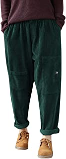 Sannysis Mujer Pana Multi-Bolsillo Pantalones Cintura elástica Pantalones de Talla Grande Pantalón Baggy