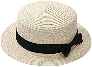 PUGLIFE Summer Hat Beach Straw Hat Panama Ladies Cap Fashionable Handmade Casual Flat Brim Bowknot Sun Hats for Women