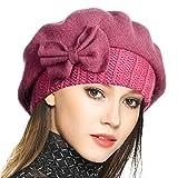 VECRY Mujer Boina 100% Lana Vestido Beanie Invierno Sombrero (Rosado)