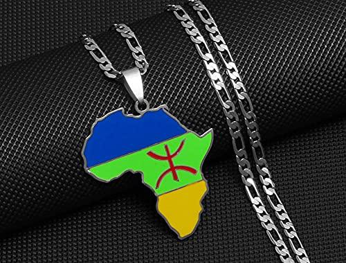 ZFHUAFENG Collar de Mapa del Mundo, Collar con Colgante de Mapa de Arabia Saudita.Personalidad Vintage Fina Decoración Creativa Collar Signo Colgante Joyería de Moda Unisex.