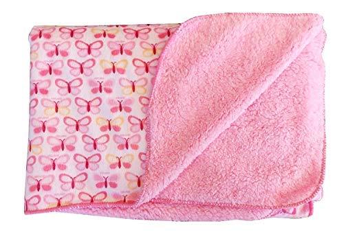 Manta De Forro Polar Suave – Plaid – Niños – Niñas – Cuna – Cama – Manta – Manta – Versátil – Idea De Regalo – Mariposas – Color Rosa – 76 Cm X 101 Cm