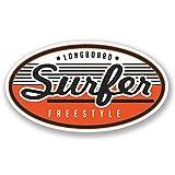 2 x Longboard Surfer Bike Freestyle iPad Car Sticker Decal AC Surf # 4194 Fun 10cm Wide x 5.6cm Tall como se...