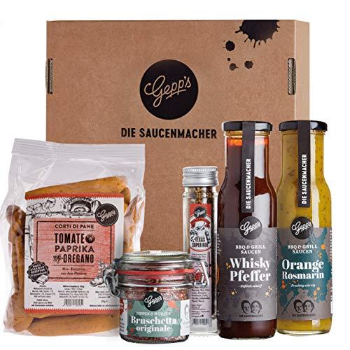 Gepp's Feinkost Grill & BBQ Paket Single I Für Männer & Frauen mit besten Zutaten zum Grillen, hergestellt nach eigener Rezeptur I Grillzubehör aus leckeren Saucen & edlen Gewürzen (A0061)