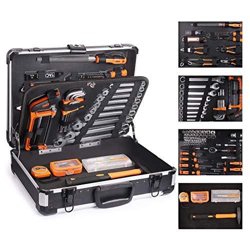 TACKLIFE Cajas de Herramientas de Aluminio,136Pcs Multifuncional Juego de Herramientas de Mano,Juego de Destornilladores de Precisión, Martillo, Alicates-HHK4B
