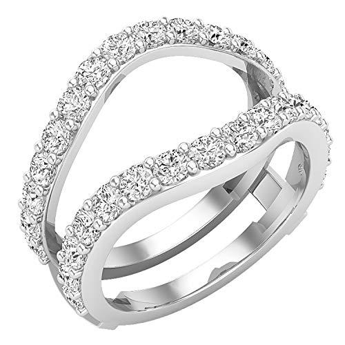 Dazzlingrock Collection Anillo doble de diamante redondo cultivado en laboratorio de 1,75 quilates para mujer, disponible en metal oro de 10 K/14 K/18 K y plata de ley 925.