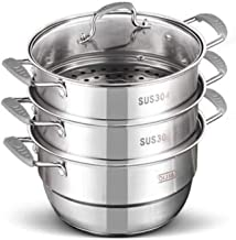 HRXD Steamer pot, suitable for home kitchen, three-layer stainless steel steamer set, outdoor, gas stove cooker universal ...