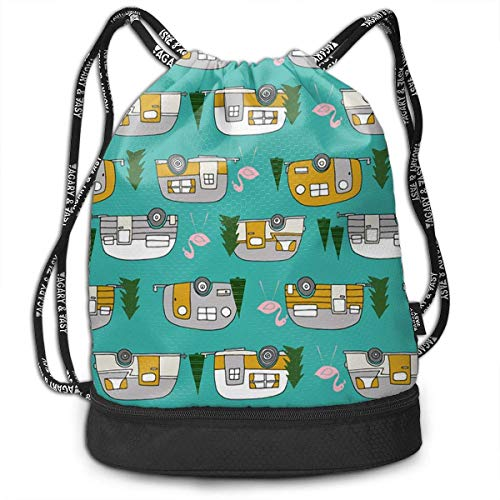 wwoman Girls & Boys Drawstring Sack Theft Proof Lightweight Beam Backpack, Swim String Bag - Retro Camper Flamingo Waterproof Backpack Soccer Basketball Bag