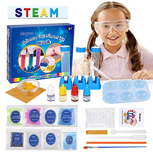 Anpro Science Experiment Kit for Kids, Children's Scientific Experiment kit STEM Education, with 15 Scientific Experiments Gift Toys, for 4 5 6 7 8 9 Years Old Boys Girls