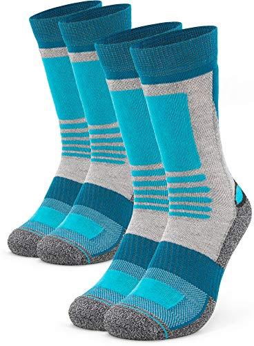 Occulto 2 Paar Damen Wandersocken | Trekking-Socken | Outdoorsocken | Funktionssocken mit gepolsterter Sohle Größen (Türkis-Grau, 39-42)
