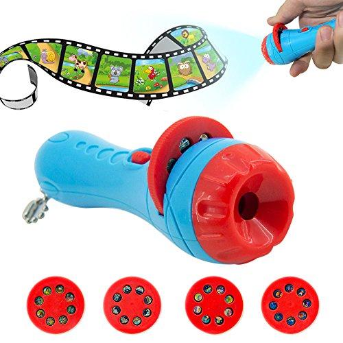 Animatey - Linterna de juguete, proyección de la historia, con 4 cuentos de cuentos y 32 láminas, lámpara de proyección para niños, juguete de regalo para niños, niños y niñas