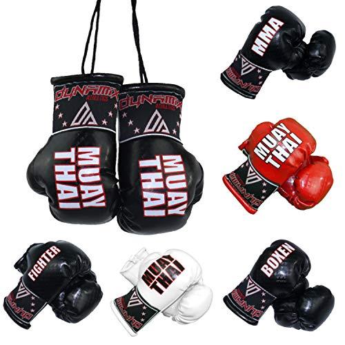 Dynamix Athletics Autospiegel Mini Boxhandschuhe - Boxhandschuhe fürs Auto Spiegelanhänger Spiegel Aufhänger PKW Innenspiegel - 4 Varianten Boxen MMA Muay Thai Fighter (Muay Thai - Schwarz)