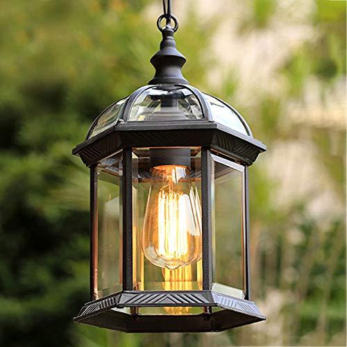 lampadario a sospensione da esterno Mengjay Lampade a Sospensione IP23 Impermeabile da Interno/Esterno Vintage Lampadario Lampada Lanterna Illuminazione da Giardino Rurale Antico Europeo Gazebo Decor Lighting