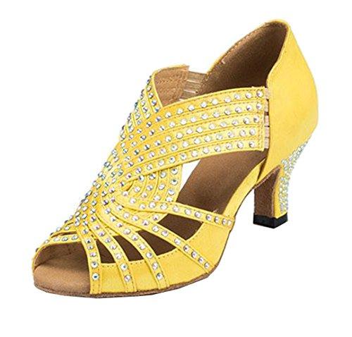 MGM-Joymod Damen Peep Toe Sparkle Strass Tango Ballsaal Latin Modern Tanzschuhe Abend Hochzeit Sandalen, Gelb - Schlupfschuh mit 6 cm Absatz - Größe: 36.5 EU