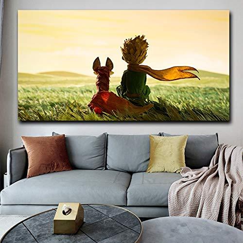 Póster de lienzo de película Popular El Principito, lienzo artístico para pared, pintura, imagen decorativa para la decoración del hogar de la sala de estar 35x70 CM (sin marco)