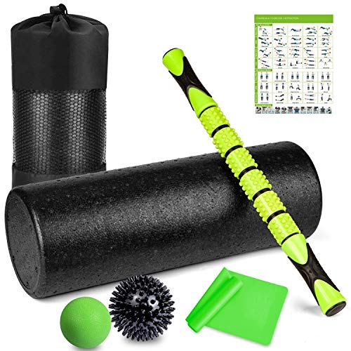 6 in 1 Premium Massage Foam Roller Kit 18' Large Foam Roller with Muscle Roller Stick 2 Massage Balls & 1 Resistance Band for Physical Therapy Injury Prevention Stretching Yoga & Trigger Point