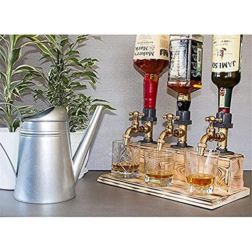 Dispensador de madera de whisky de alcohol, dispensador de licores de whisky de madera, licor del día de padre Forma de grifo de alcohol para cenas de fiesta Barras y estaciones de bebidas (triple)