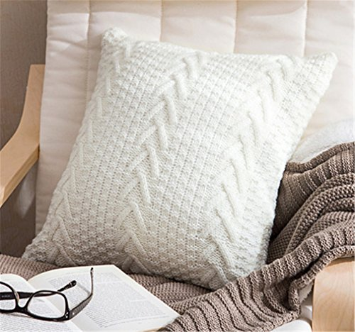 ANDUUNI Decorative Cotton Knitted Pillow Case Cushion Cover Double-Cable Warm Throw Pillow Covers for Bed Couch 18' X 18'