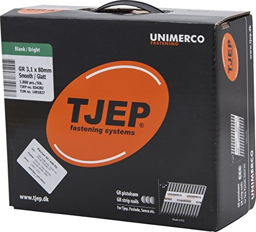 TJEP GR 31/80 D-Kopf Streifennägel 34° glatt Blank, 3,1x80mm Maxibox