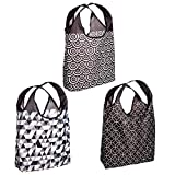 O-WITZ Reusable Shopping Bags, Ripstop, Folds Into Pouch, 3 Pack, Classic Black and White,