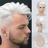 男性用ウィッグブラウンルーツ60プラチナブロンドオンブルカツラ4T60ストレートブラジルレミー人間の髪の交換システム,H