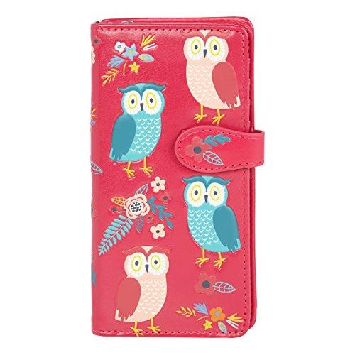 Shagwear ® Portemonnaie Geldbörse Damen Geldbeutel Mädchen Bifold Mehrfarbig Portmonee Designs: (Eule Garten/Owl Garden - Fuschia)