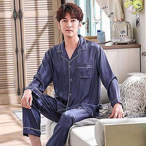 SLM-max Pijamas Calientes,Pijamas de Seda para Hombres Primavera y Verano Pantalones de Manga Larga Pijamas de Dos Piezas Traje Pijamas de Seda para Hombres, Azul, X
