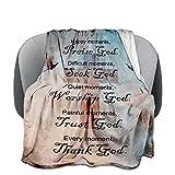Inspirational Christian Blanket Healing Thoughts Soft Lightweight Religious Bible Verse Throw Get Well Soon Prayer Caring 50X40 Inch Gifts Men& Women