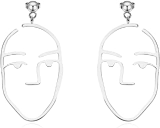 Abstract Face Cute Dangle Earrings Hollow Human Face Design Pierced Earrings