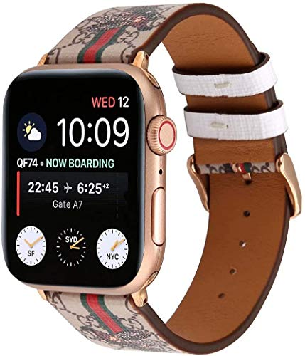 Roonking Compatible with iWatch Band 38mm 40mm, Luxury Fashion Design Compatible with Apple Watch Leather Band Series 6 6se 5 4 3 2 1 38mm 40mm, Light Gray