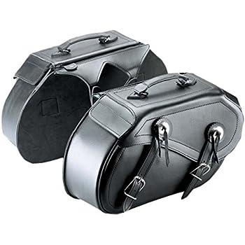 CLBING Universali Pelle PU Borse Laterali Moto,con Portabottiglie,Installazione Facile Portatile Grande capacit/à,Impermeabile Nero ,Left